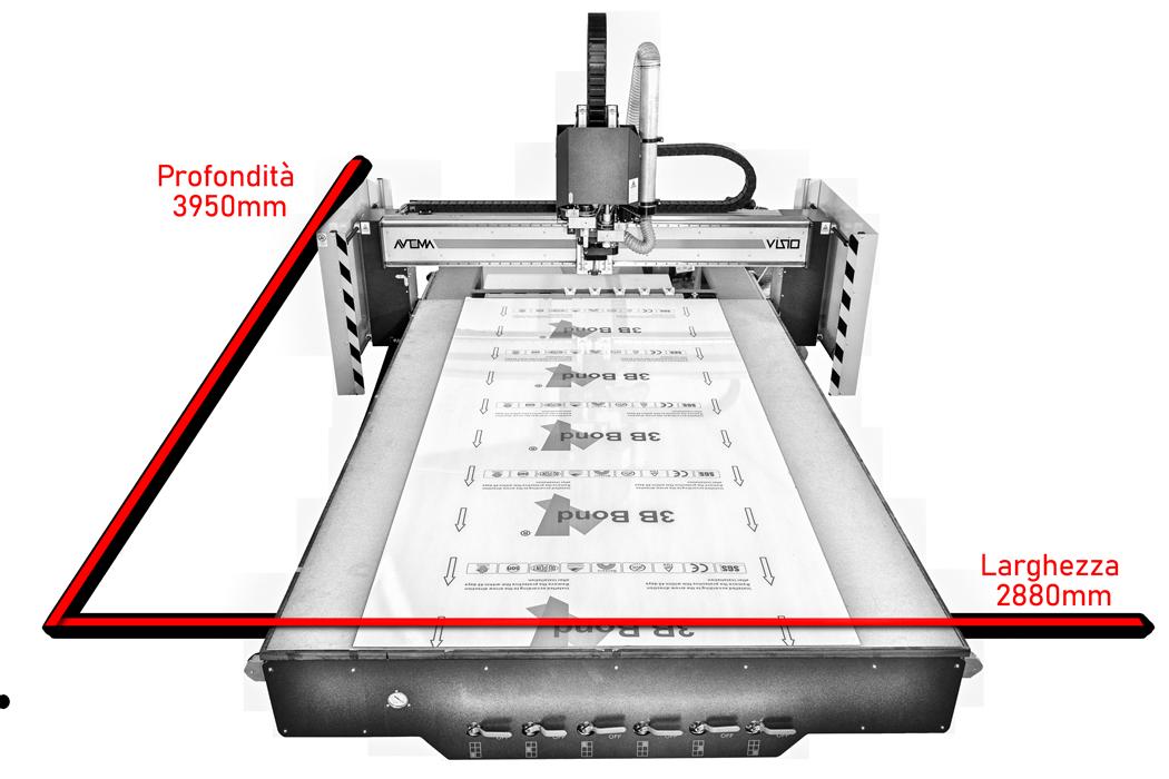 Dimensioni pantografo per lavorazione grandi pannelli multimateriale